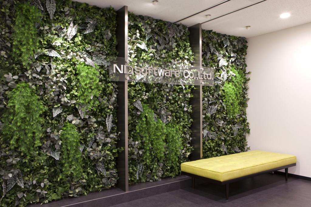 オフィスエントランス壁面緑化デザイン