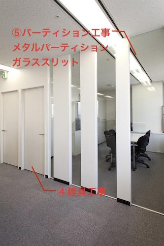 オフィス内装工事建具、パーティション