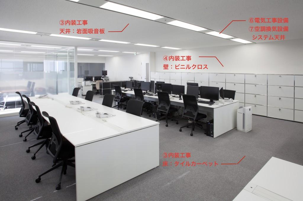 事務所オフィスの内装工事システム天井タイルカーペットなど